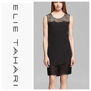 ❄️ Elie Tahari Black Crochet Lace Upper And Trim 8